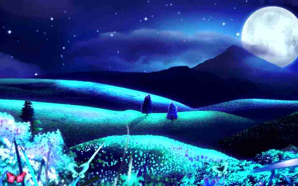 高清唯美月亮蝴蝶动态动态壁纸