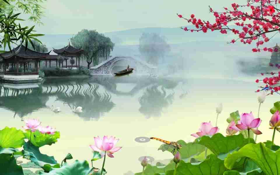 高清中国风水墨江南动态(有音乐)动态壁纸